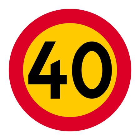 Skylt: Hastighetsbegränsning 40 kilometer i timmen